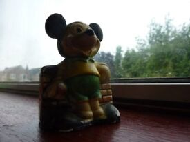 Lovely old vintage collectible quirky & rather unusual early chalkware Walt Disney Figure Mouse.