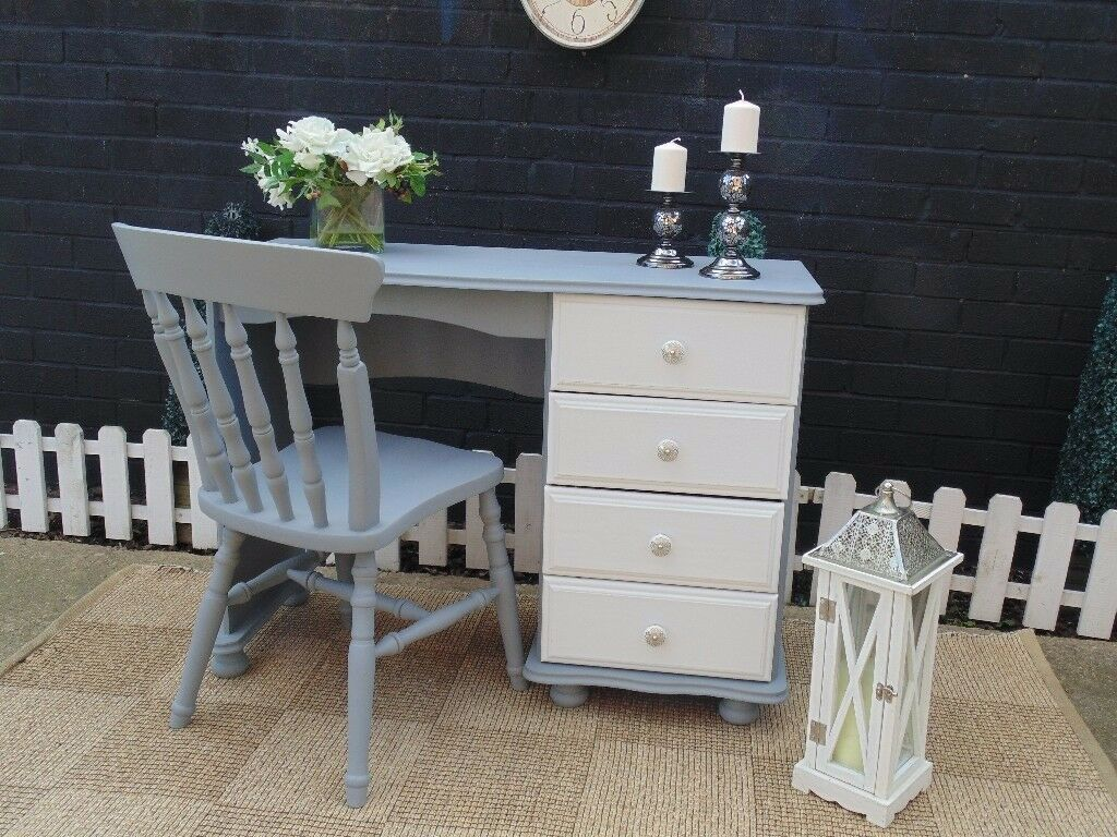 SOLID PINE DRESSING TABLE/DESK WITH 1 SOLID PINE CHAIR PAINTED WITH LAURA ASHLEY PAINT