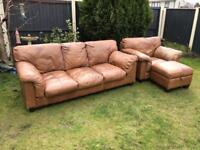 Dfs semi Aniline ranch leather saddle leather vintage aged sofa suite can deliver