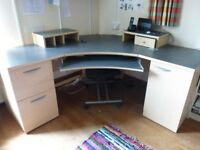 Corner office desk - perfect for home office. With chair