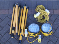 110v site lights, tripods and extension lead