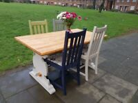 Vintage FARMHOUSE dining set 5ft TABLE & 4 tropical Lemar CHAIRS shabby chic FREE LOCAL DELIVERY