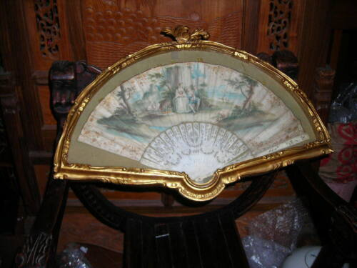 EARLY ANTIQUE MOTHER OF PEARL HAND PAINTED FRENCH FAN IN FRAME 24X17
