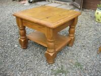 MODERN ORNATE CHUNKY SOLID PINE SQUARE COFFEE TABLE. VIEWING / DELIVERY AVAILABLE