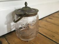 Antique Circa Victorian Glass Storage Jar Sweet Jar Biscuit Barrel
