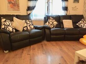 NEXT TO NEW Black faux leather 3&2 piece recliner suite £500 ONO