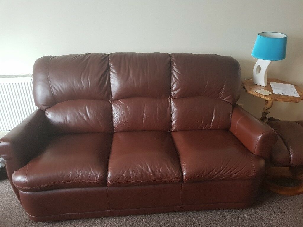 3 seater leather sofa, armchair and footstool