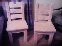2 Beautiful Solid Pine Chunky Chairs - 23 lbs in weight & 35 ins in height! £50 Each!