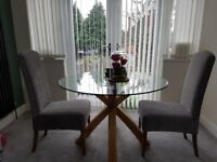 Oak Glass Dinning Table plus 2 x chairs