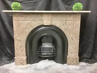 Antique Victorian Marble Fireplace Surround & Cast Iron Insert