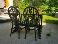 Genuine solid Oak Ercol dining table & 4 matching chairs