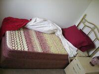 ***** Single Bed with brass head board *****