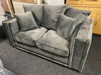 NEW - EX DISPLAY SILVER GREY CHENILLE VELVET 2 SEATER SOFA 75% Off RRP