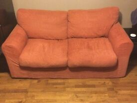 2 seater terracotta sofa bed