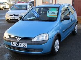 02/52 Vauxhall Corsa 1.0 GLS 3dr, Metallic Blue**MOT November 2018, New Timing Chain Fitted**