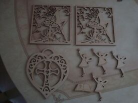2 Fairy shapes, 1 Celtic styled heart with cross, 1 small open Bible and 4 Fairies with wands.