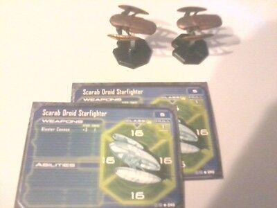 Star Wars Mini's Scarab Droid Starfighter #52 of 60 x2