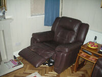 Two Lazy-Boy Power Reclining Brown Leather Arm Chairs