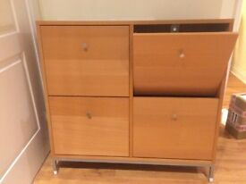 wooden shoe cabinet with 4 compartments
