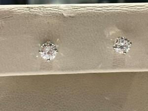 #1643 14K WHITE GOLD SCREWBACK EARRINGS TOTALING .60CT IN DIAMONDS. APPRAISED AT $3250.00 SELLING FOR $1095.00!