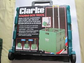 FOLDING BOX TROLLEY BY CLARKE, AS NEW, IDEAL FOR DIY, GARDENING AND HOBBY USE