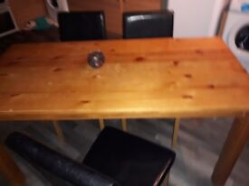 dining table and chaurs