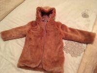 Faux fur blush pink coat age 8-9