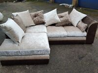 Fabulous brown and beige crushed velvet corner sofa. 1 month old. clean and tidy. can deliver