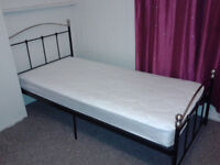 Nearly New Single Bed Frame and Mattress. Only one year old, light use, eleven year old girl.