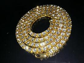"Men's 30"" Diamond Gold Chain"
