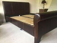 Real leather king sleigh bed frame