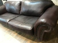 Brown Leather Chesterfield Sofa. 3 Seater
