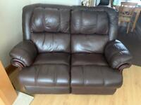 Leather 2 seater sofa brown