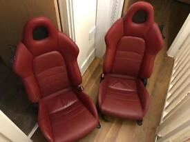 Honda S2000 red leather seats