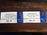 Bath v Bristol rugby tickets 20/11/16 Hospitaltiy Box tickets x2