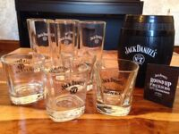 Jack Daniels branded glasses, mug and mini barrel ice bucket