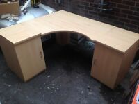 Corner Desk unit with two cabinets pine effect