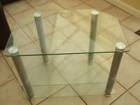Glass and Chrome Television Table with 2 Shelves
