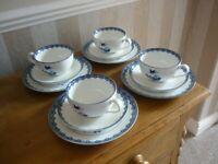 12 Piece Pretty Blue & White China Tea Set with Side Plates