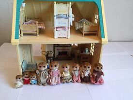 Sylvanian Family House with meerkat family of 9 including triplets
