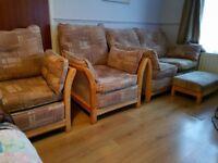 Sofa 2+1+1 & footstool.