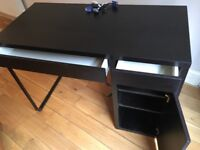 SOLD -Small Black Desk with two drawers and shelves