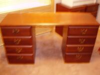 Desk/dressing table, bedside cabinets and chest of drawers