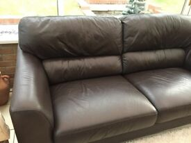 Dark Brown Leather 2 seater and 3 seater Sofas