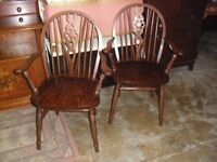 Great Clean Pair Of Oak Carver Arm Chairs Solid & Sturdy