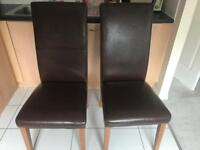 Brown faux leather dining chair