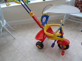 Childs Tricycle 3 Wheeler with Parent Handle Bars £9
