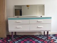 Restored Vintage Mid Century Sideboard or Dressing Table with Adjustable, Removable Mirror