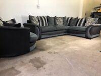 Grey scs corner sofa & cuddle swivel sofa, couch, suite, furniture 🚛🚚