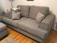 Charcoal Three seater Sofa Plus Armachair And Pouff